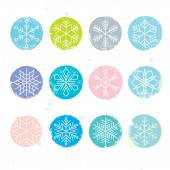Colorful snowflakes set — Vettoriale Stock
