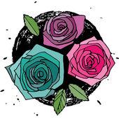Três rosas — Vetor de Stock