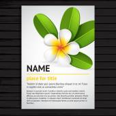 Poster with frangipani flower — Vettoriale Stock