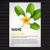 Poster with frangipani flower — Stock Vector