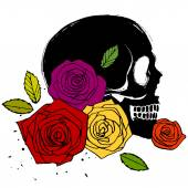 Side face skull with roses — Stock Vector