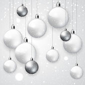 White snowy  Christmas balls — Stock Vector
