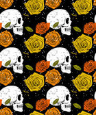 Skull and rose seamless pattern — Wektor stockowy