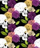 スカル花のシームレス背景 — ストックベクタ