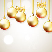Hanging golden Christmas balls — Vetorial Stock