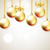 Hanging golden Christmas balls — Vector de stock