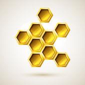 Golden hexagon object — Stock Vector