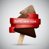 Chocolate Christmas tree ice cream — Vector de stock