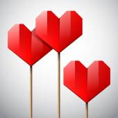 Red paper hearts on sticks — Stock Vector