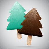 Christmas tree ice creams — Stock Vector