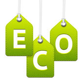 Green eco hanging tags — Stock Vector