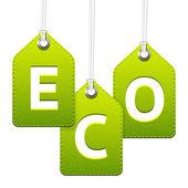Green eco hanging tags — Vecteur