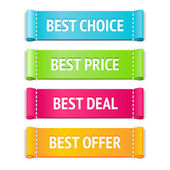 Best choice, price and offer signs — Stock Vector