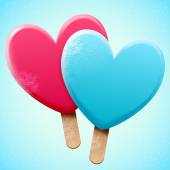 Heart shaped ice creams — 图库矢量图片