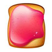 Toast with strawberry jam — Stock Vector