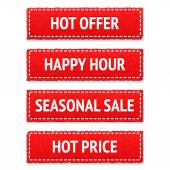 Red promotion realistic textile tags or seasonal sale, happy hour, hot offer and hot price signs — Stockvektor