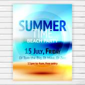Summer time party flyer — Stock Vector