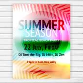 Tropical summer party flyer — Stock Vector