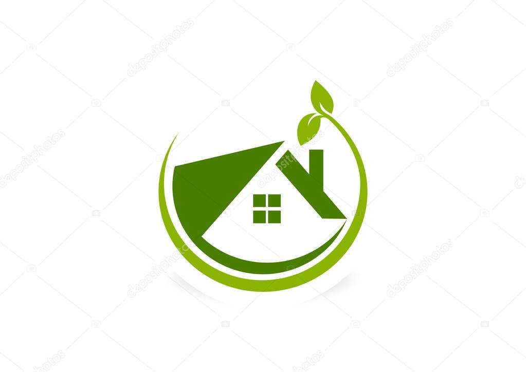 Green eco friendly house logo design symbol vector stock for Household design logo
