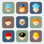 Set of colorful people occupation icons — Vector de stock