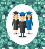 Illustration of graduates with background of education icons — Stockvector