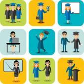 Design plano aprendendo o conceito de educação com os graduados, professores — Vetor de Stock