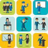 Flat design learning concept for education with graduates, teachers — Vetor de Stock