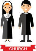 Set of a religious people, priest and nun — Stock Vector