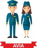 Set of people aviation, pilot and stewardess — Stock Vector