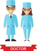 Set of medical people, doctor and nurse — Stockvector