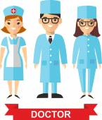 Set of medical people, doctor and nurse — Stock Vector