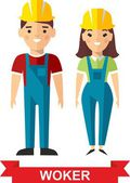 Set of vector  worker man and  worker woman — Stock Vector