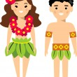 Постер, плакат: Vector illustration of hawaiian male and female
