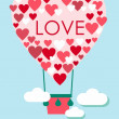 Valentine's Day Card with heart shaped flying balloon — Stock Vector #62537181