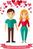 Vector illustration of a romantic people in love. — Vector de stock