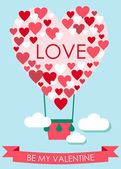 Valentine's Day Card with heart shaped flying balloon — Stock Vector