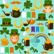 Seamless background with saint Patricks Day icons — Stock Vector #64230331