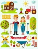 Flat stylish icons for gardening concept — Stock Vector