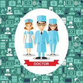 Set of medical people, doctor and nurse with medical seamless background — Stock Vector