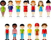Set of children boys and girls icons — Stock Vector