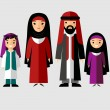 Vector colorful illustration of arab  family in national clothes — Stock Vector #71117089