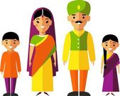 Vector colorful illustration of indian  family in national clothes — Stock Vector