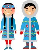 Vector illustration of eskimo children, boy, girl, people — Stock Vector