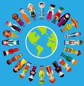 Vector illustration of multicultural national children, people on planet earth — Stock Vector
