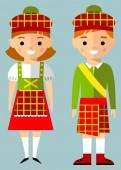 Vector illustration of scot children, boy, girl, people — Stock Vector