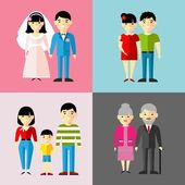 Set of wedding couple, pregnant parents, grandparent, young family — Stock Vector