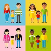 Vector colorful illustration of african american, asian, arab, european family — Stock Vector
