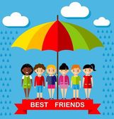 Vector illustration of friends kids under multicolor umbrella — ストックベクタ