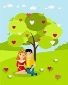 Vector illustration of a romantic european couple in love — Stock Vector