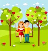 Vectorillustratie van een romantisch paar op een schommel — Stockvector